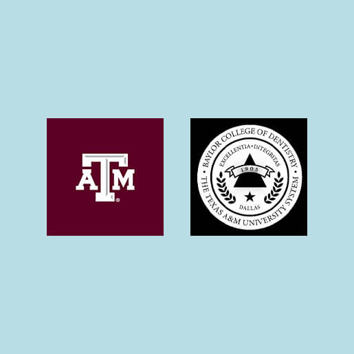 Texas A&M and Baylor College of Dentistry logos