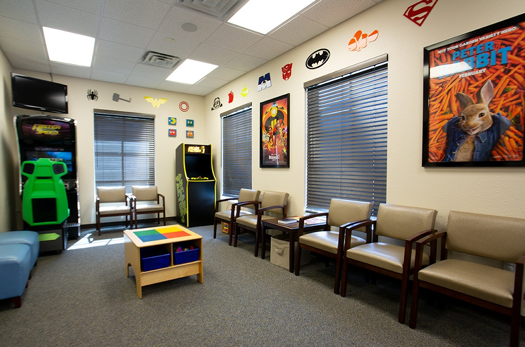 Kid friendly area in dental office waiting room