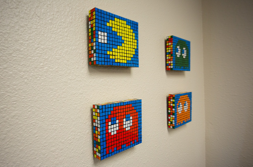 Pac man art work in waiting area