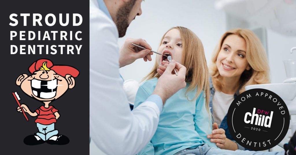 a mother and child at the dentist's office and Stroud Pediatric Dentistry designated a Mom-Approved Child Dentist for 2020